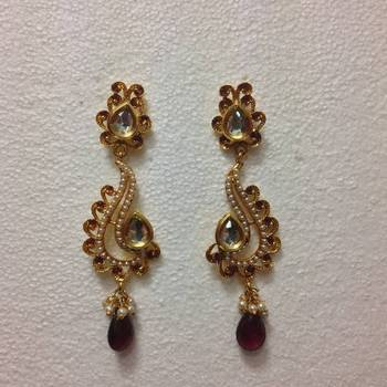 Kundan Swan shaped dangler earring in Purple