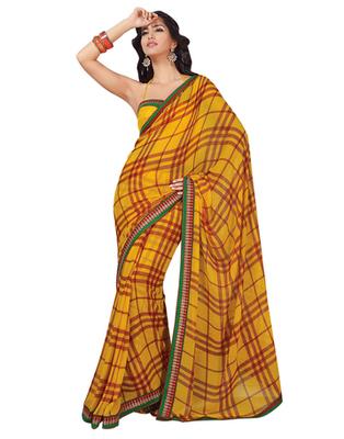 Dealtz Fashion Yellow Georgette  Saree