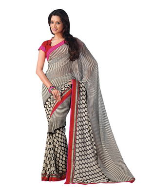 Dealtz Fashion Black-White Georgette   Saree