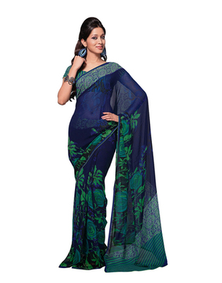 Dealtz Fashion Blue Georgette   Saree