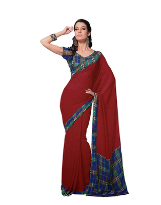 Dealtz Fashion Red Georgette   Saree