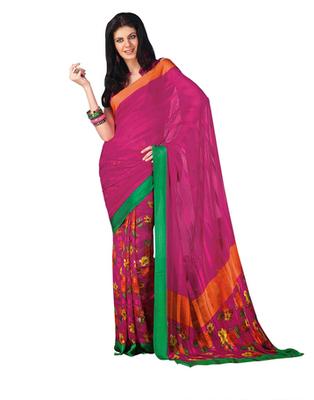 Dealtz Fashion Pink Chiffon  Saree