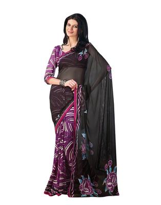 Dealtz Fashion Black Georgette   Saree