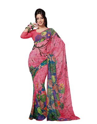 Dealtz Fashion Pink Georgette   Saree