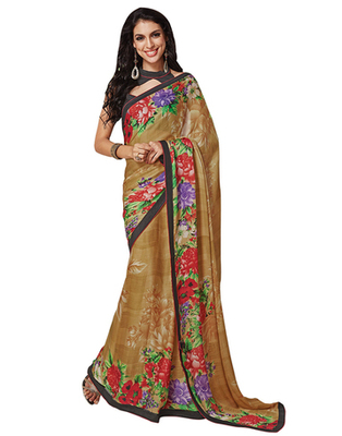 Dealtz Fashion Beige Georgette  Saree