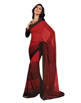 Dealtz Fashion Red Georgette  Saree