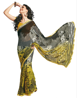 Dealtz Fashion Black-Yellow Georgette  Saree