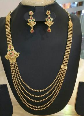 Georgeous High Gold Plated Multi Stones Steps Necklace Set