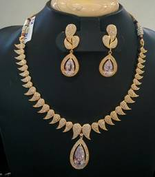 Buy Beautiful high gold plated stones white necklace set curated-jewelry online