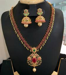 Buy Beautiful high gold plated stones multi necklace set women-ethnic-wear online
