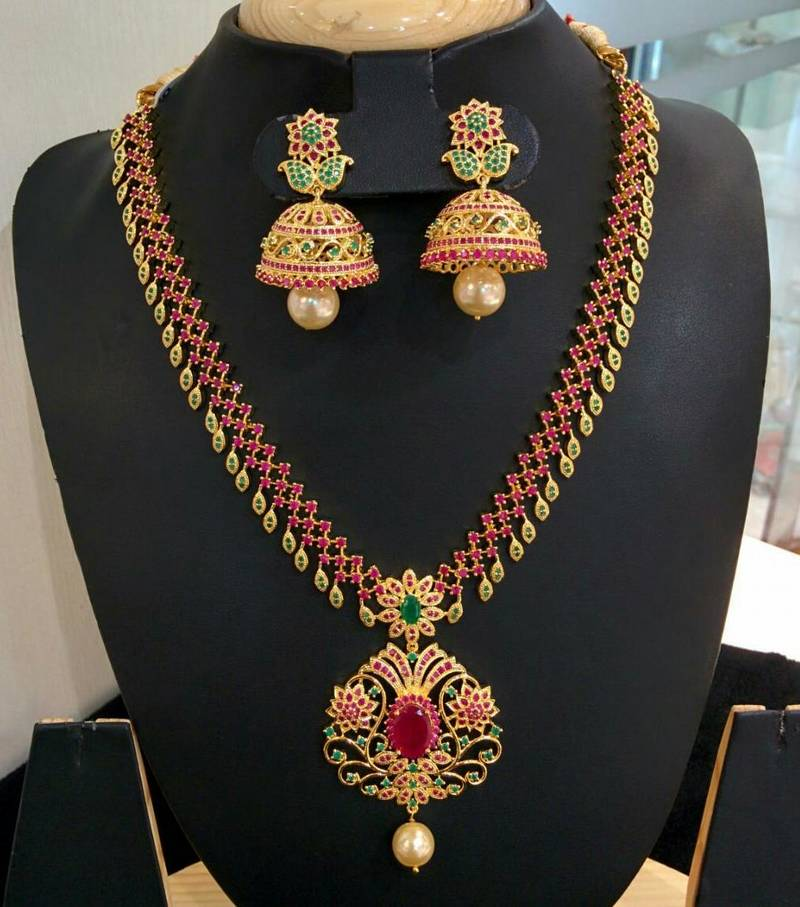 Beautiful High Gold Plated Stones Multi Necklace Set Dharani