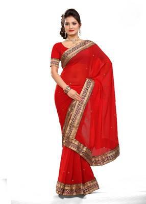 ISHIN Faux Chiffon Red Saree MR-2109- B
