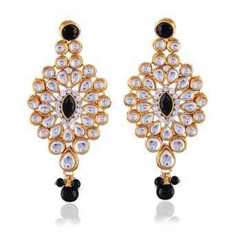 Youthful Black Stone Kundan Gold Finishing Dangle Earrings