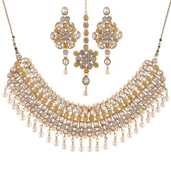 Gold & Pearl Combination Bollywood Necklace Set