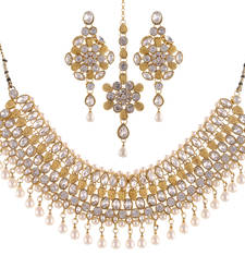Buy Gold & Pearl Combination Bollywood Necklace Set curated-jewelry online