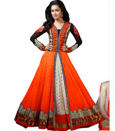 Orange georgette and net embroidered semi stitiched salwar with dupatta shop online