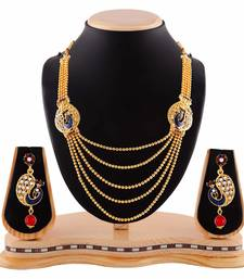 Exclusive Peacock Design Multicolor Five Layer Gold Finishing Necklace Set