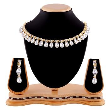 Exclusive Design Gold Finishing White Stone Necklace Set
