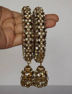 Heavy Kadas Set of Two in Antique Gold