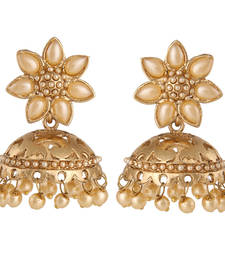 Buy Traditional Floral Pearl Studded Golden Jhumki Earrings danglers-drop online