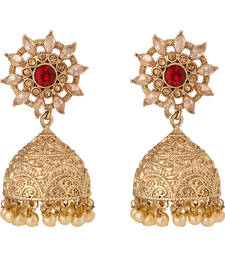 Buy Traditional Floral Red Stones & Pearl Studded Golden Jhumki Earrings danglers-drop online
