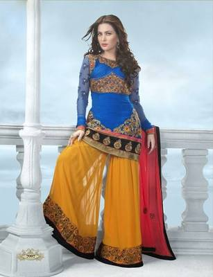 Anarkali  Salwar Kameez Blue and Yellow