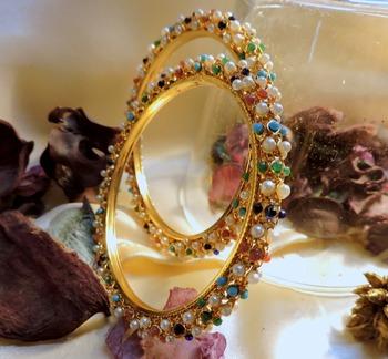 tri color gold plated royal pair of  bangles pair