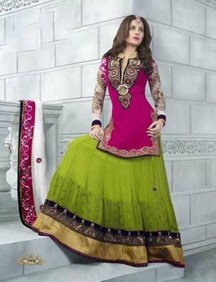 Anarkali  Salwar Kameez Pink and Green