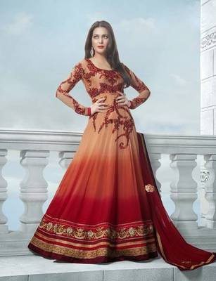Anarkali  Salwar Kameez Peach and Red