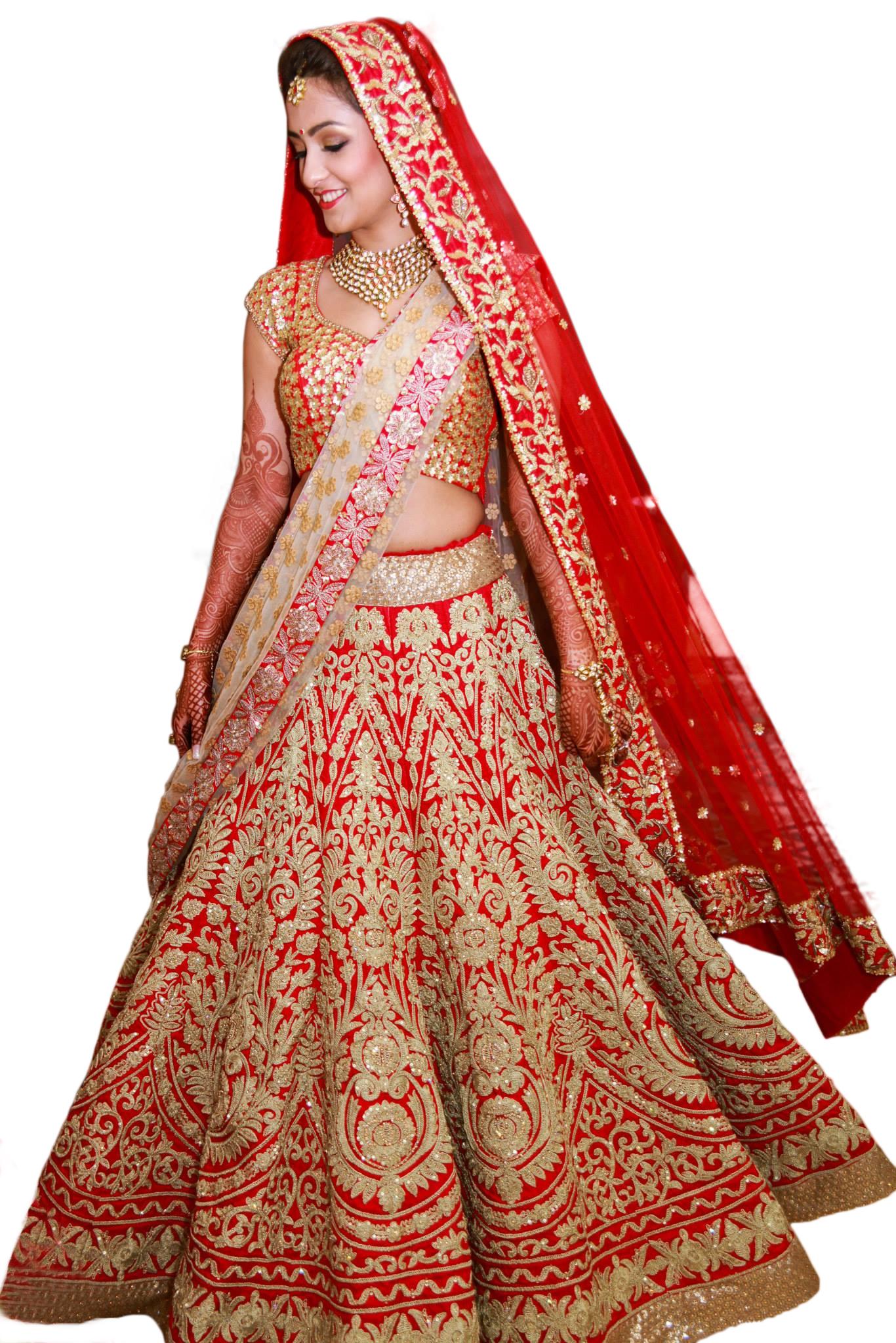 0b3a3288d6 Red raw silk embroidered semi stitched bridal lehenga - Rozy Fashion -  1317348