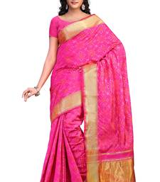 Buy light pink hand woven tussar silk saree With Blouse tussar-silk-saree online