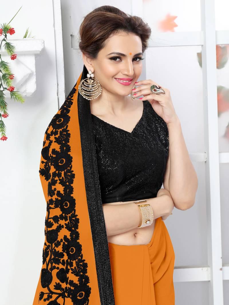 05e6008ea7d111 Orange embroidered chiffon saree with blouse - Onlinefayda.com - 790615