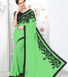 Buy Perrot Green embroidered chiffon saree with blouse chiffon-saree online