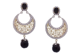 ANTIQUE VICTORIAN BLACK PEARLS CHAND BALI