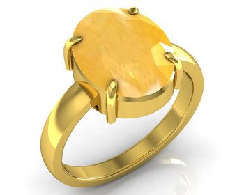 Pukhraj 9.3 Cts Or 10.25 Ratti Yellow Sapphire Ring