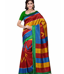 Buy multicolor printed art silk saree With Blouse below-500 online