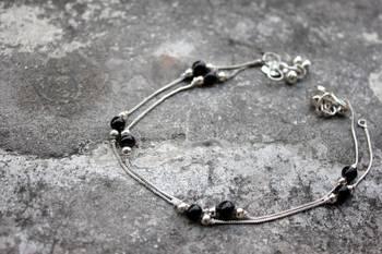 Black Beads Anklet