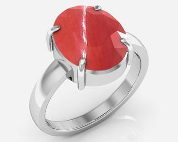 Moonga 5.5 Cts Or 6.25 Ratti Coral Moonga Ring