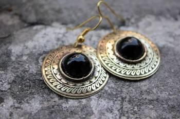 Black brass earrings