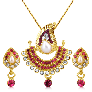 Pink  Stone and High Gold Plated Look Pendant with Pearl