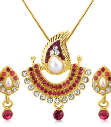 Buy Pink  Stone and High Gold Plated Look Pendant with Pearl Pendant online
