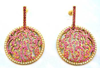 Pink Diamond Disc Earrings