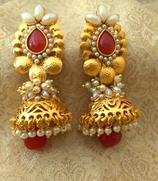 Buy Marvelous Ruby Bandani Golden Pearls Jhumka Earrings jhumka online