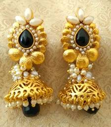 Buy Fabulous Black Bandani Golden Pearls Jhumka Earrings jhumka online
