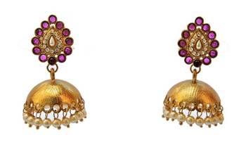 Gold Jhumkas with Purple Diamonds