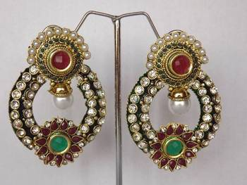 Beautiful Traditional Earrings with Stone Work