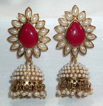 Aashiqui 2 earrings Maroon polki pearls jhumka Earrings