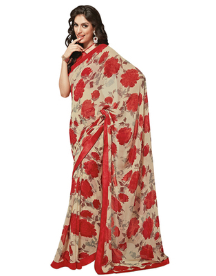 Dealtz Fashion Beige-Red Georgette  Saree