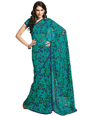 Dealtz Fashion Green Georgette  Saree