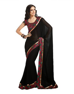 Dealtz Fashion Black Georgette  Saree